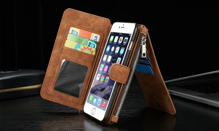 Groupon Direct - 458958 - Merchandising (AE): Leather Credit Card and Wallet Case for iPhone 6/6s/6s Plus  in Choice of Colours for AED 69 (59% off)