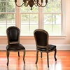 Set of 2 Weathered-Oak Bonded-Leather Dining Chairs