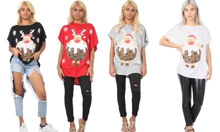 Christmas Pudding Reindeer Oversize Top
