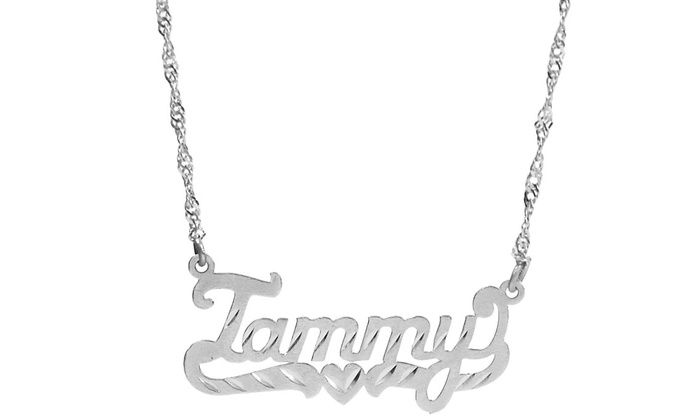 3c157fc6e Up To 84% Off on Custom Diamond-Cut Name Pendant | Groupon Goods