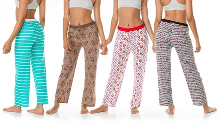 4-Pack of Ladies' Printed Lounge PJ Pants