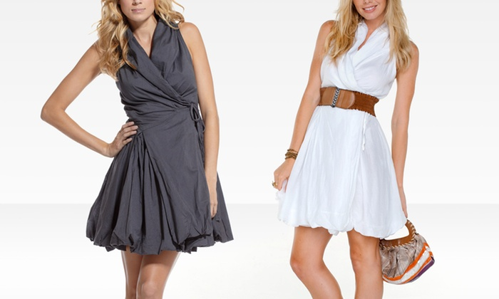 $44.99 for an ELAN International Bubble-Hem Wrap Dress ($159.99 List Price). Multiple Styles. Free Shipping and Returns.