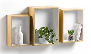 3 étagères niches en bois