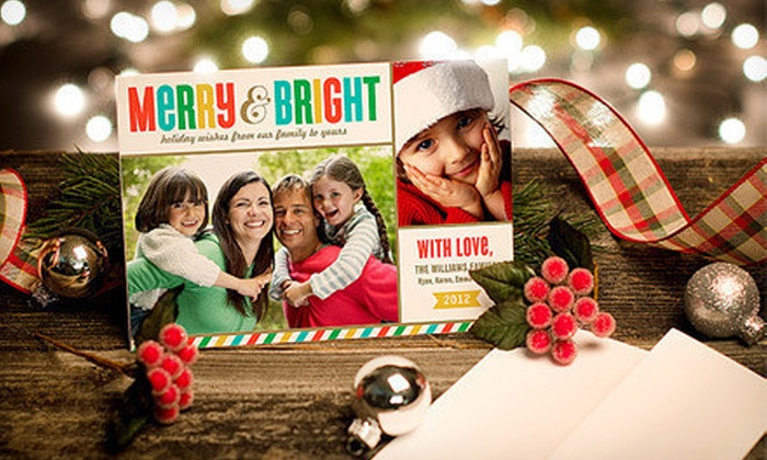 "Personalized Holiday Photo Cards: 40, 75 or 110 5""x7"" Custom Holiday Flat Cards from Zazzle with Envelopes. Shipping Included (Up to 78% Off)"