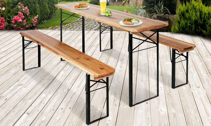 Mesa plegable de madera de exterior groupon for Mesa plegable groupon