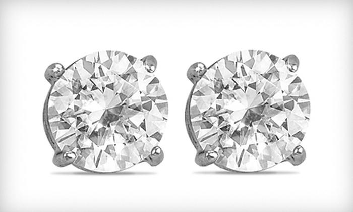 9 For 2 Carat White Topaz Stud Earrings