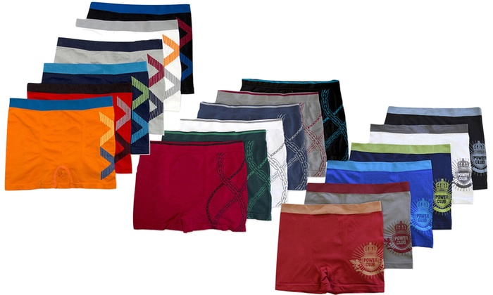Men's Seamless Lion, Stars, and Striped Boxer Briefs (6-Pack)