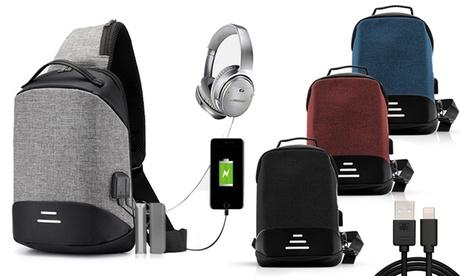 1 o 2 mochilas antirrobo pequeña con opción a cable de datos USB de 1 metro