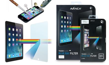 Protector de pantalla de cristal templado Avanca con filtro de rayos azules para iPhone y iPad