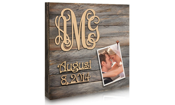 "Authentic Monogram: Custom 18""x18"" or 24""x24"" 3-Letter Monogram and Date Rustic Picture Board from Authentic Monogram"