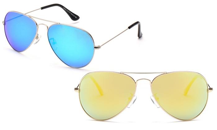 Unisex Polarized Mirrored Aviator Sunglasses: Polarized Mirrored Aviator Sunglasses for Men and Women