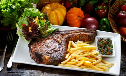 image for Rib-Eye Steak with Chips, Side Salad and Wine for Two or Four at The Dandy Lion (52% Off)