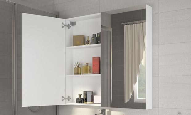 Specchiera contenitore con led groupon goods - Specchio contenitore bagno con luce ...