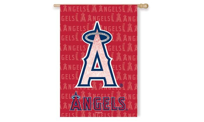 Los Angeles Angels Suede Metallic House Flags: Los Angeles Angels Suede Metallic House Flags