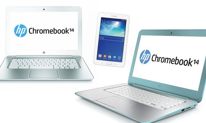 "HP 14"" Chromebook and Samsung Tab 7 Lite: HP 14"" Chromebook with 1.4GHz Processor, 2GB RAM, and 16GB SSD and Samsung 7"" Tab 3 Lite (Manufacturer Refurbished)"