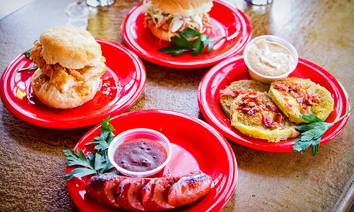 Johnny Rebs' Southern Roadhouse - Multiple Locations: $30 for Craft-Beer Flights and Southern Sampler Platter for Two at Johnny Rebs' Southern Roadhouse ($50 Value)