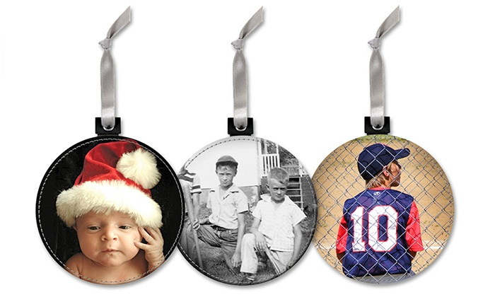 "Snaptotes: Custom Leather Photo Ornament with Optional Ability to Play ""Jingle Bells"" Tune from SnapTotes (Up to 61% Off)"