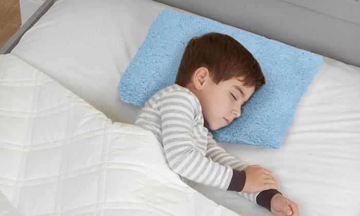 mini memory foam travel pillow with sherpa fleece cover