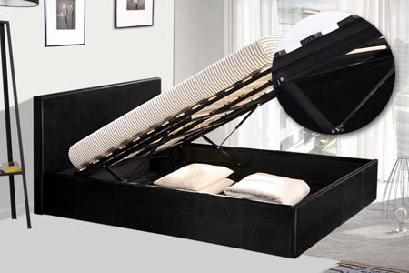 lit coffre simili cuir avec ou sans matelas m moire de. Black Bedroom Furniture Sets. Home Design Ideas