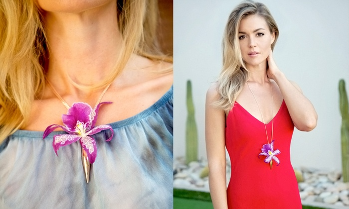 Fleurings: Gold-Plated Flower-Compatible Earrings, Necklaces, and Hairpieces from Fleurings (50% Off)