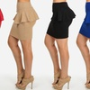 Women's Stretchy Solid-Color Peplum Skirt