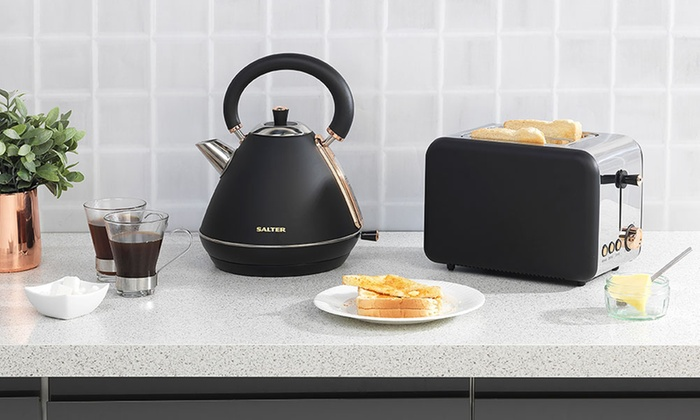 Salter COMBO-3646 Rose Gold Collection Pyramid Kettle and 2-Slice Toaster Set