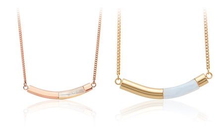 Women's Mother of Pearl Necklaces in 18K Gold Plated Stainless Steel