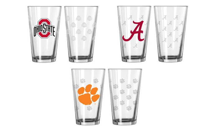 NCAA Satin-Etched Pint Glasses (Set of 2)