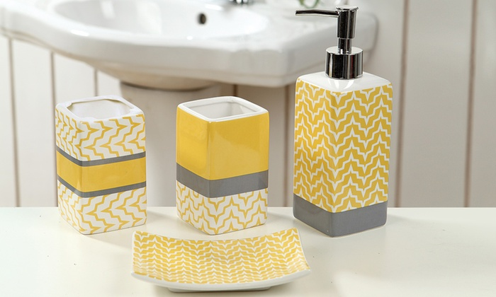 Geometric ceramic bath accessory sets 4 piece groupon for Yellow bathroom accessories sets