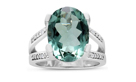 5.5-CT Green Amethyst Ring in Solid Sterling Silver