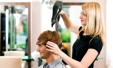 Men's or Women's Haircut, or Highlight/Color Treatment at imagine. A Barbershop and Hair Studio (Up to 51% Off)