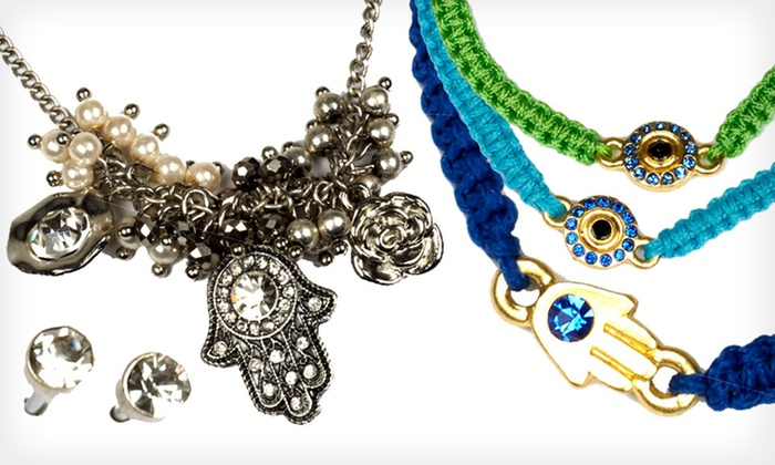 Jadore Bijoux Evil Eye and Hamsa Jewelry: Evil Eye or Hamsa Bracelets or Necklace and Earrings Sets (Up to 82% Off). Multiple Styles Available. Free Returns.