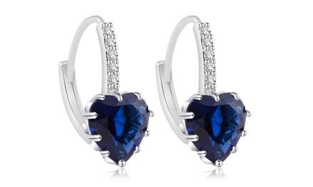 5.00 CTW Lab Created Heart Cut Blue Sapphire Drop Earrings