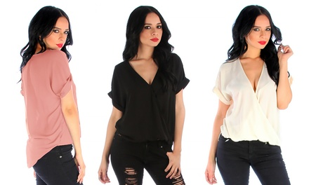 Women's Wrap Star Hi-Lo Top. Available in Regular and Plus Sizes.