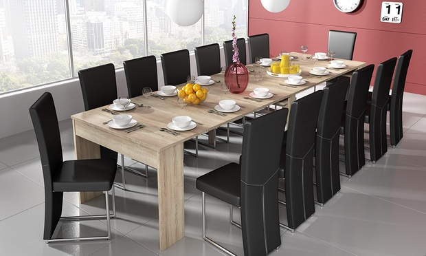 Table extensible blanc ch ne groupon for Table extensible groupon