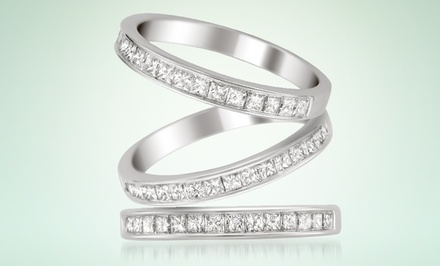 1/2-Carat Princess-Cut Diamond Channel Band in 14-Karat White Gold. Multiple Options Available.
