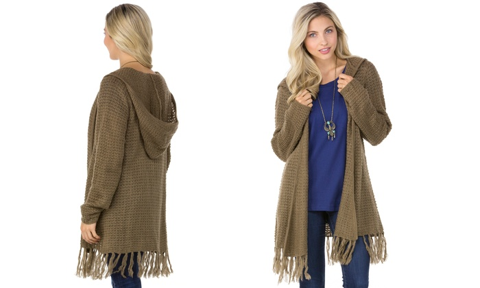 Olive Street Women's Hooded Fringe Cardigan (Size M) | Groupon