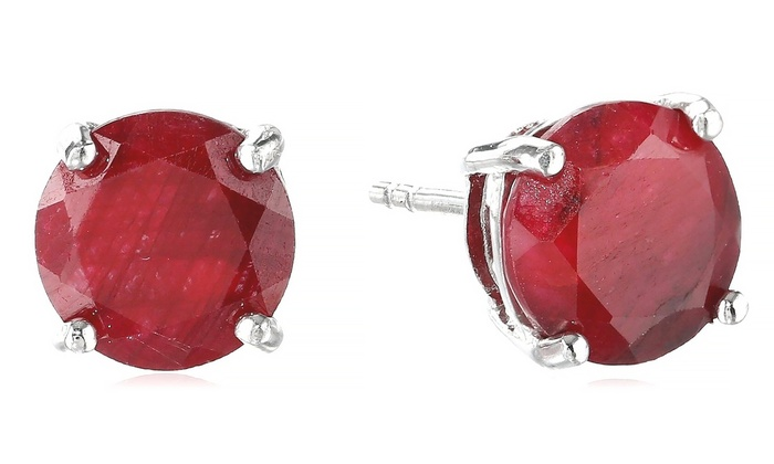 Genuine Ruby Stud Earrings In Sterling Silver