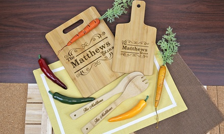 Up To 75 Off Personalized Bamboo Kitchen Utensils Groupon