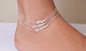 92% Off Name Plate Ankle Bracelet from Monogramhub.com  at Monogramhub.com, plus 9.0% Cash Back from Ebates.