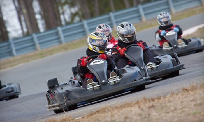New Jersey Motorsports Park - Corbin City: Two-Race Go-Karting Package for One or Two at New Jersey Motorsports Park (Up to 51% Off)