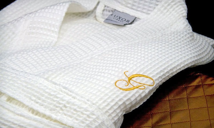 Luxor Linens Monogrammed Spa Robes: One or Two Luxor Linens Egyptian-Cotton Spa Robes in Black, Red, or Gold (Up to 83% Off). Free Shipping and Returns.