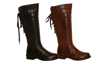 Yoki Graham Women's Lace-Back Riding Boots in Black or Brown. Free Returns.