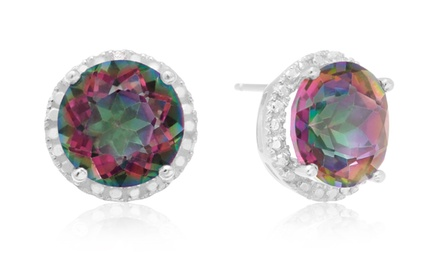 7.00 CTTW Mystic Topaz Halo Stud Earrings