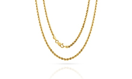 Diamond-Cut Rope Chain in 14K Solid Gold