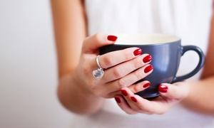 Beauty and Wellness: Orly Gel File and Polish for Hands and Optionally Feet with Latte and Mince Pies at Beauty and Wellness (Up to 52% Off)