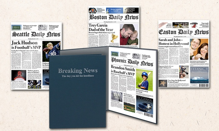 "Simply Personalized: 11""x14"" Printed Fake Newspaper Cover With Optional Case or Frame from Simply Personalized (Up to 52% Off)"