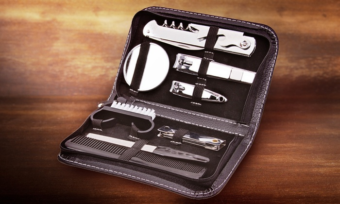 Men's 9-Piece Travel Grooming Set: Men's 9-Piece Travel Grooming Set with Chrome-Plated Stainless Steel Tools. Free Returns.