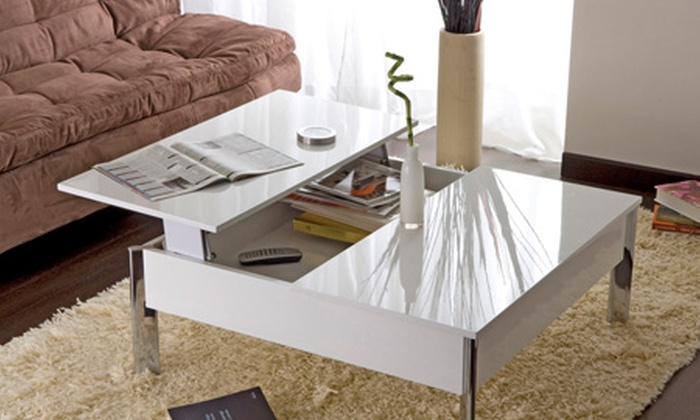 Table basse carr e plateau relevable groupon shopping for Table basse carree avec rangement