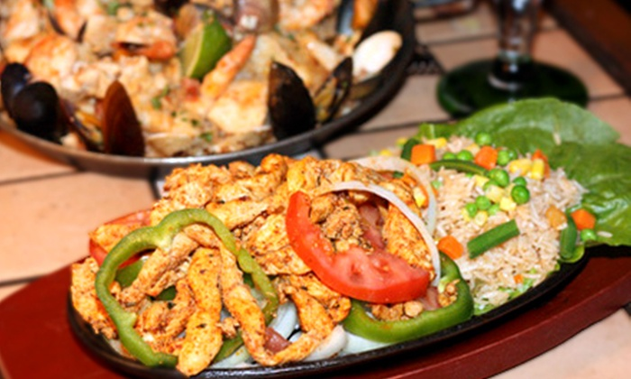 Ponchos Mexican Restaurant - West End: Chicken or Vegetarian Fajita Platters for Two or Four at Ponchos Mexican Restaurant (Up to Half Off)